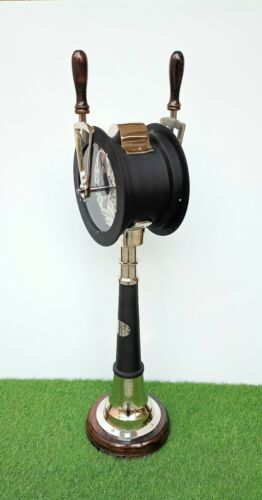 Ship Engine Room Telegraph in 3 Folds Black & Silver Finish Working Handle Bells