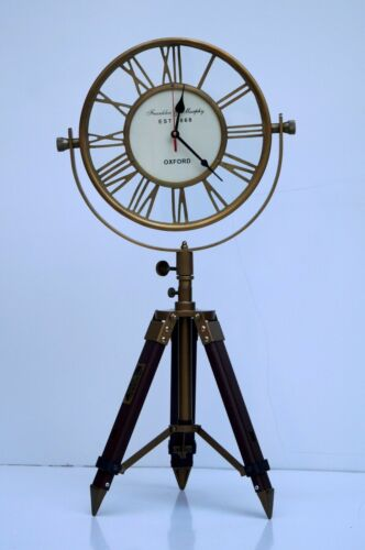 Nautical antique brass oxford clock with table desk tripod stand home decor item