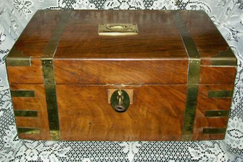 LARGE ANTIQUE 1800s WOODEN BOX or WRITING SLOPE + key/brass trim 34x23x15cm A/F