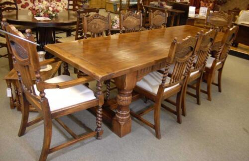 Oak Refectory Table Set William Mary Farmhouse Chairs Kitchen