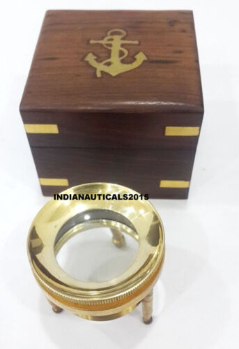 Vintage Magnifying Glass  Nautical Brass Desk Magnifying Glass With Wooden Box