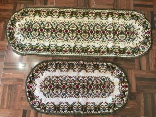2x craft Antique french knot tapestry needlepoint table runners metallic trim