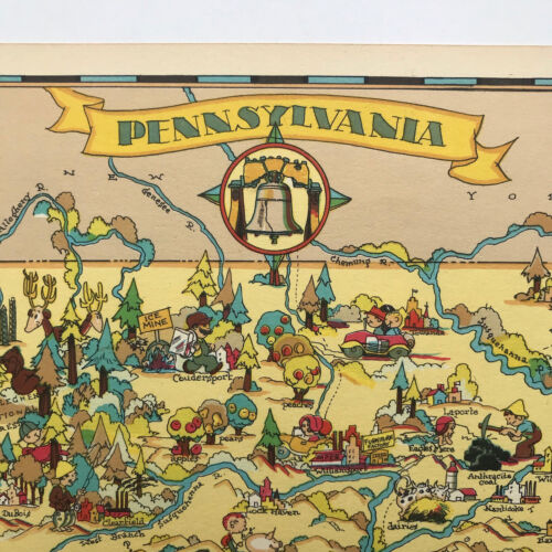 Ruth Taylor ORIGINAL Cartoon Map PENNSYLVANIA 1935 Litho  NITTANY LIONS Quakers