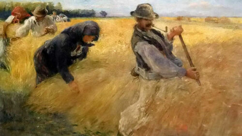 Excellent Oil painting hermann kern - the harvesters farmers in autumn season @@