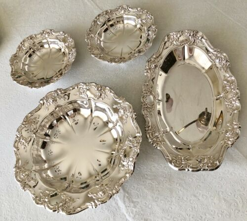 TOWLE SILVERPLATE TABLEWARE 4 PIECE SET VINTAGE SERVING TRAYS DISHES OLD MASTER