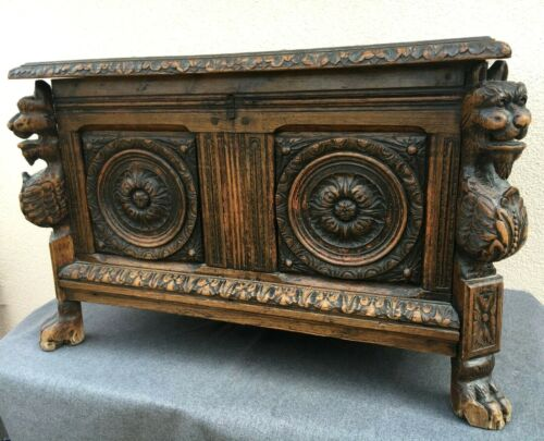 Large antique french black forest trunk 18th century chimeras woodwork 52lb