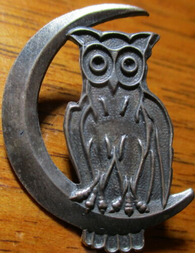"Antique from France ""DETAILED OWL-CRESCENT MOON"" Realistic Vintage Metal Button"