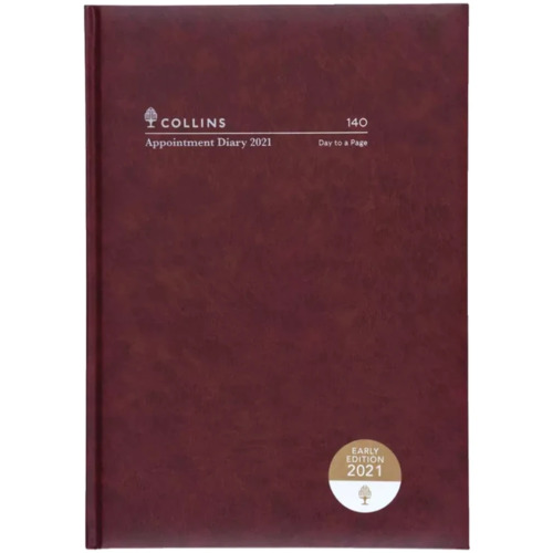 NEW 2021 Collins Appointment Diary A4 Burgundy 1 Day to Page 140.P78 15min Inter
