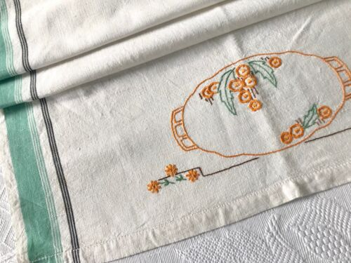 Vintage Linen Tea Towel Hand Embroidery 1940s 1950s Striped Sides