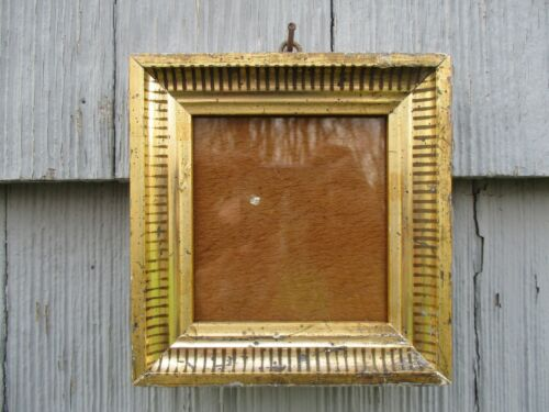 Small Antique Lemon Gilt Wood Picture Frame with Glass fits 4 x 4-1/4