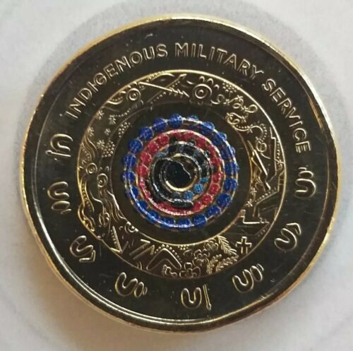 Australia 2021 Indigenous Military Service $2 in hand Coloured UNC Coin RAM roll
