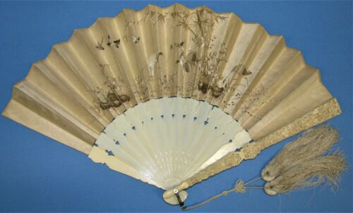 c. 1850 Macao folding fan Well carved sticks & Beautiful crewel work on Leaves