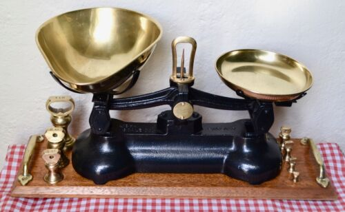 """VINTAGE ENGLISH """"LIBRA"""" BLACK SCALES 7 BRASS BELL WEIGHTS ON POLISHED WOOD STAND"""