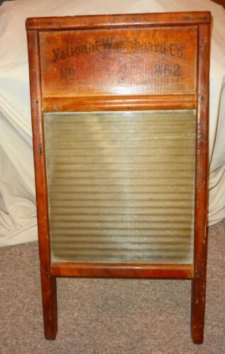 """Antique Vintage National 862 Original Wood and Ribbed Glass Washboard 24"""" Tall !"""