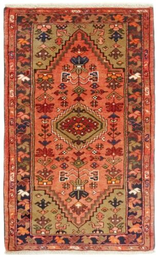 "Hand Knotted Tribal Coral Navy Wool Nomadic Zanjan Oriental Rug 2'5"" x 4'"