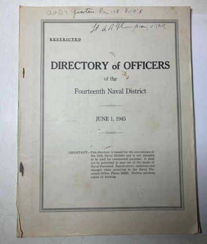 VTG WW2 1945 DIRECTORY of OFFICERS 14th NAVAL DISTRICT PEARL HARBOR HAWAII Photographs - 4727