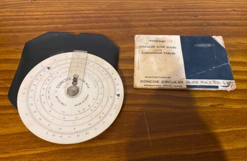 Vintage Concise circular slide rule No. 320 - with case and instructions