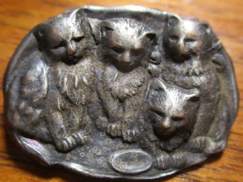 "Antique from France~ ""4 LITTLE FLUFFY KITTENS"" Vintage White Metal Button"