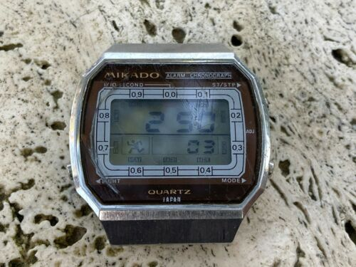 RARE 70s OLD MIKADO RUNNING MAN LCD WATCH MADE IN JAPAN FOR RESTORE