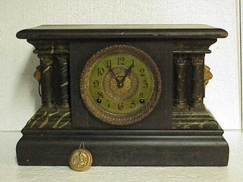Antique 16 Inch Ingraham Black Mantle Clock 8 Day Time & Strike parts repair B