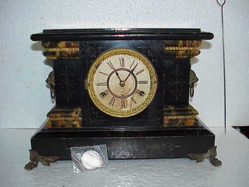 Antique New Haven Half Hour Strike Cathedral Gong Black Mantle Clock parts repai