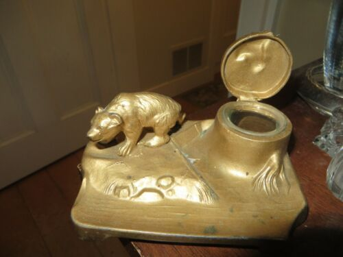 OLd vintage metal painted gold bear and tree stump inkwell with glass insert