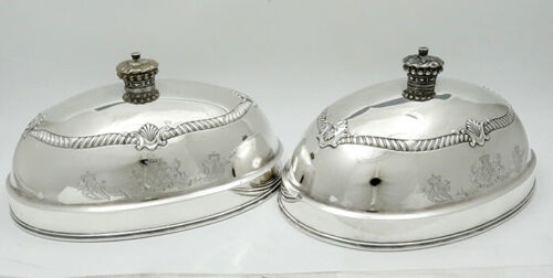 PAIR English Sterling Silver DOMES Coronet GARRARDS LONDON 1822 Armorial