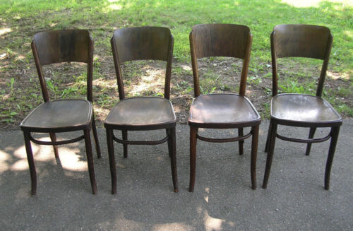 """(4)  ANTIQUE  """"ASTRA""""  BENTWOOD  CAFE - BISTRO - PARLOR  CHAIRS - CZECHOSLOVAKIA"""