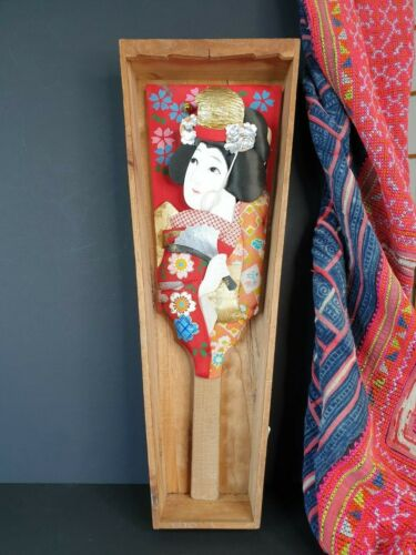 Old Japanese Paddle in Display Box …beautiful collection & display piece