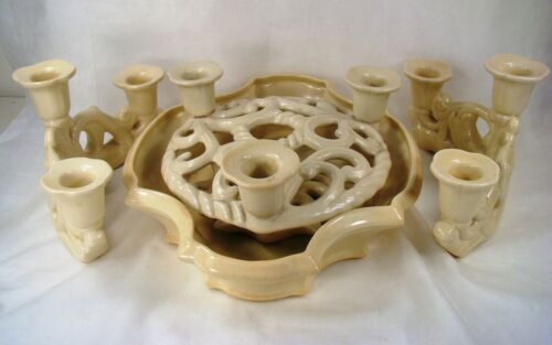 Cowan Pottery SIGNED IVORY 4 pc SET, Two Triple Candelabras, Frog w/Candles,Bowl