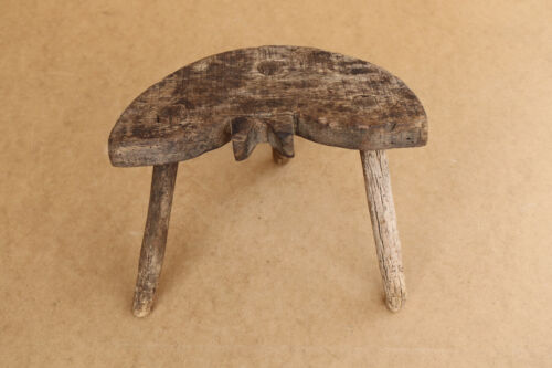 Old Antique Primitive Wooden Wood Child's Milking Stool Chair Seat Bench 19th