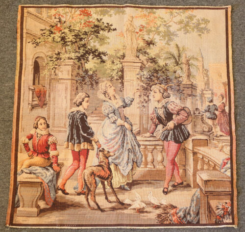 Tapestry - Woman with Minstrel E. Sallah 4 of 40 tag - Belgium - Vintage