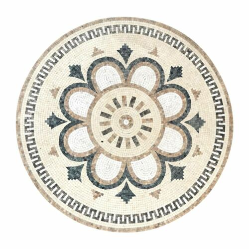 Mosaico in Marmo Bianco e Pietre Dure White Marble Mosaic Made in Italy D.100cm