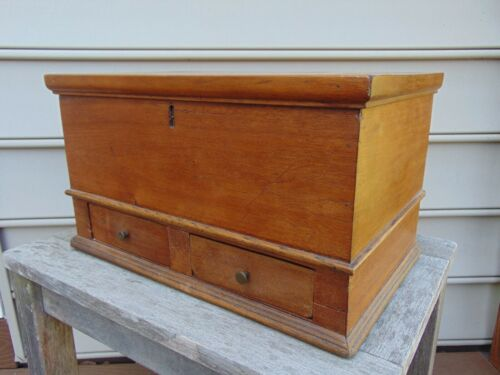Antique Box with a Hinged Lid and Two Drawers, Walnut and Yellow Pine, American