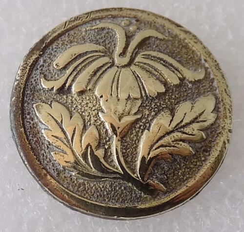 Golden Age Antique Brass Early American Button Tobacco Bloom Design 1790-1820