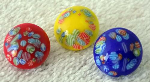 """Lot of Three (3) Millefiori Vintage Glass Buttons Yellow Blue Red 5/8"""" Diameter"""