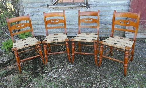 ANTIQUE SET OF 4 EARLY 19th CENTURY TIGER MAPLE FEDERAL SIDE CHAIRS