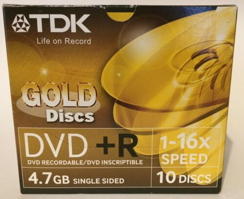 TDK Gold DVD+R Discs - Pack of !0 with Indvidual Wrapped Cases.