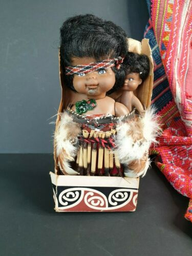 Old New Zealand Maori Collectors Doll with Baby …beautiful collection and displa