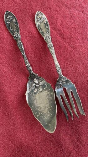 ANTIQUE 1908 NARCISSUS MEAT FORK & PIE/CAKE SERVER LIFT by OXFORD SILVER PLATE