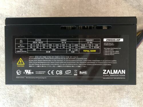 ZALMAN ZM600-HP 600W Heatpipe Cooled ATX Modular Switching PSU VG Condition