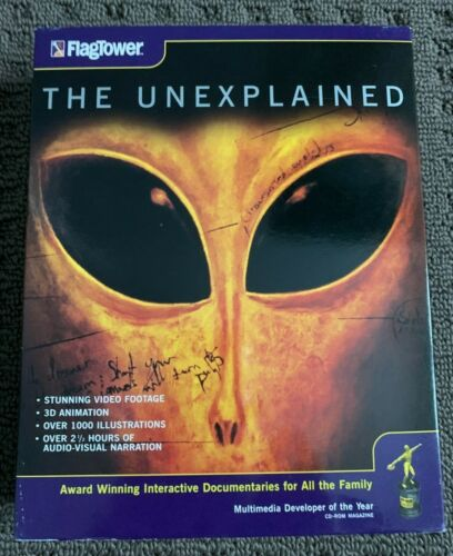 THE UNEXPLAINED CD-ROM PC EX+ Condition 1996 Flagtower Big Box 2+ Hrs UFO Aliens