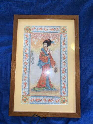 VINTAGE FRAMED ART Stunning Cross Stitched Asian Lady, So Dainty..