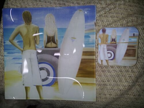 decorative plate and 8 coasters beach and surfers scene