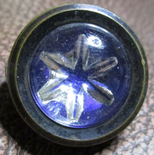 """ANTIQUE VICTORIAN CHARMSTRING BUTTON - MOUNTED DESIGN UNDER GLASS STAR - 9/16"""""""