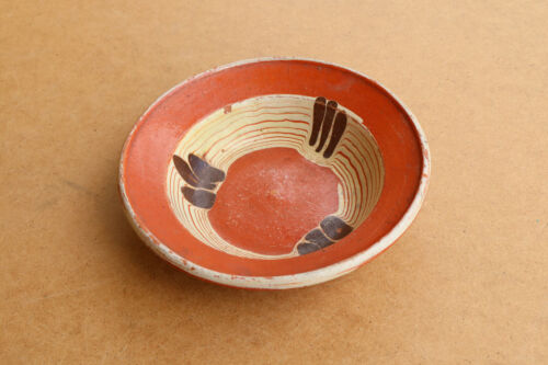 Old Antique Primitive Redware Bowl Cup Dish Mug Clay Hand Crafted about 1910's.