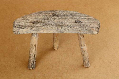 Old Antique Primitive Wooden Wood Chair Stool Milking Stool Seat Bench 19th