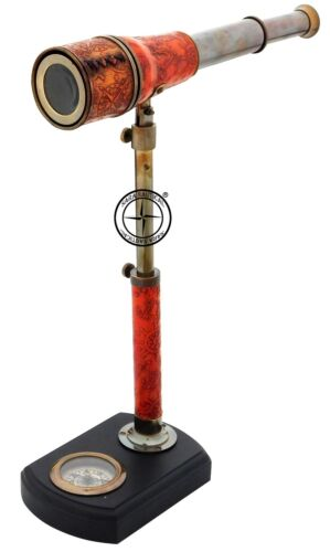 Antique Brass Telescope With Compass Wooden Stand Leather Collectible Desk Decor