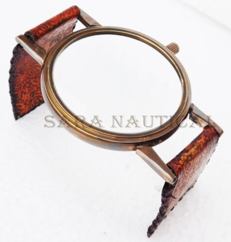 Antique Brass Desk Magnifying Watch Style Adjustable Glass Leather Stand Decor
