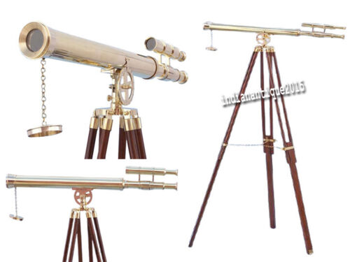 """27"""" Brown Telescope Desk Handmade With Wood Tripod Stand"""
